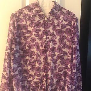 Banana Republic crepe floral blouse with hem tie